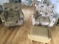 Two retro styled armchairs with footstool