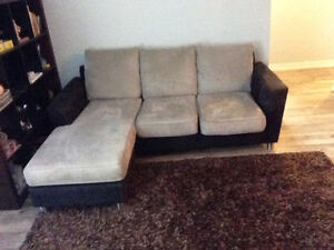 Black and gray couch 7ft by 6ft