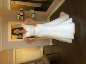 Gorgeous wedding dress, vail and belt