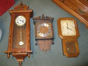 (3) wood wall clocks with chime