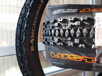 """3 maxxis ranchero lust 26x2"""" tires (1 new, 2 with 1 ride)"""