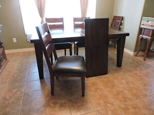 "DINING ROOM TABLE + 18"" wide leaf + 6 CHAIRS"