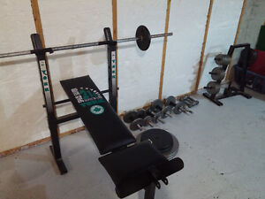 bench press and punching bag