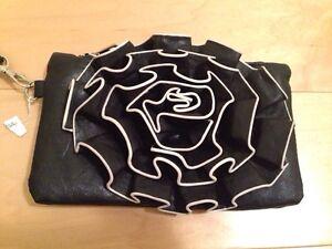 Black Leather Evening Clutch / Purse / Handbag
