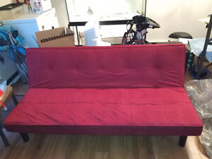 Sofa bed, red fabric