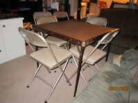 Folding Card Table With 6 Matching Chairs