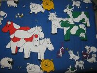 BLUE FABRIC WITH FARM ANIMALS