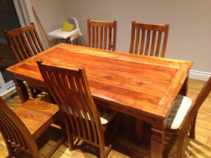 Solid rosewood table and 6 chairs