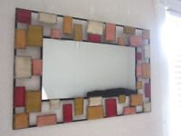 LARGE METAL WALL MIRROR-COLOURFUL-CLEAN-INTACT-RUSTIC