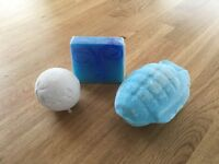 Bath bombs and bar of soap