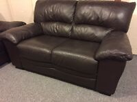 2 & 2 luxury reids brown full leather sofa set - can deliver