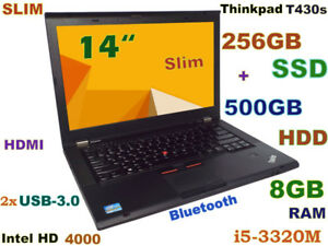 "Thinkpad T430s 14"" i5-2.6GHz  (DVDRW 256GB SSD + 500GB) 8GB BT"