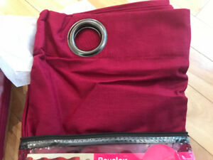 Dark pink grommet curtains