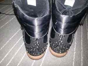 Size 8 black studded wedge boots Edmonton Edmonton Area image 2