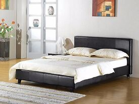 Free Delivery Double Leather Bed Frame In Black Brown With Semi Orthopedic Mattress