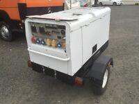 Arc-gen 15 kva multiphase generator on road tow trailer ( no vat )