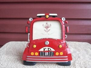 Antique Style Red Firetruck Picture Frame
