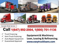 EASY TRUCK LOANS, CONSTRUCTION EQUIPMENT or BUSINESS FINANCING