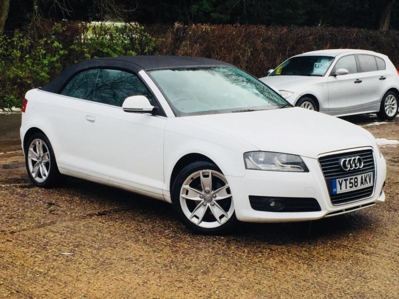 2008 audi a3 cabriolet 1 9tdi sport white convertible 109 186 miles superb in high. Black Bedroom Furniture Sets. Home Design Ideas