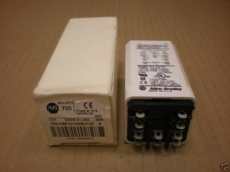 1 NIB ALLEN BRADLEY 700-HSF22100SU120 700HSF22100SU120 TIME RELAY FIXED 10 S