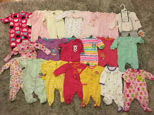 20 Excellent Condition 3-Month Baby Girl Sleepers