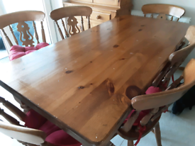 Pine farmhouse kitchen table and 6 chairs