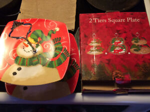 2 tiers square snowman plate