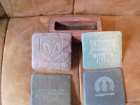 Car themed stone coasters with wood holder