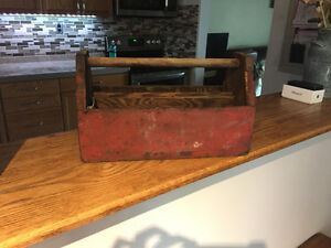 Beautiful old antique wooden toolbox