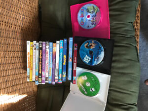 16 children's DVDs and one blu-ray $8