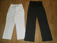 Thyme Maternity Chocolate Brown Pants & White Capris (Size:S)