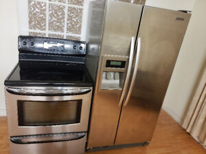 2 pc stainless steel kitchen appliance fridge stove for sale