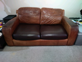 Genuine leather brown sofa bed
