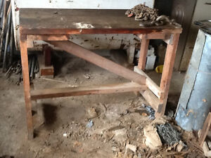 Heavy duty work bench made of planking