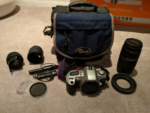 Canon EOS Rebel 35mm film camera with 75-300mm lens