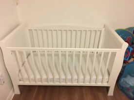 White wooden cotbed £100