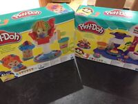 Play doh hair shop and cake party