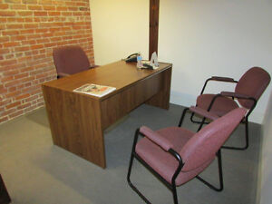 Desk, File Credenza, Office & Side Chairs.