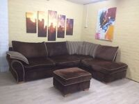 Cosy Brown Fabric Corner Sofa