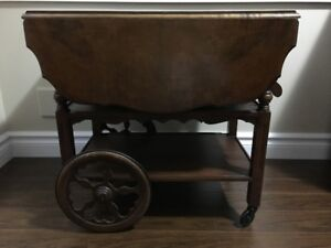 Sturdy Antique Table For Sale Solid Walnut Burl Wood Finish Gibbard Tea Cart