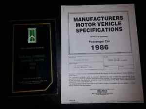 1986 Oldsmobile Cutlass Owner's Manual & Vehicle Specifications