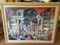 Selection of framed paintings and mirror