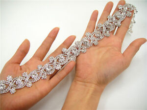 Gorgeous Diamante Trim Crystal Bridal Applique Beaded Motif Wedding Applique