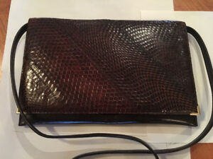 Ladies brown vintage snakeskin purse