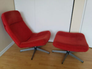 Red Ikea chair and stool