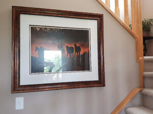 Huge Wall Picture 37''x 32''. Horses Picture.