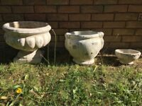 Set of Cream stone planters