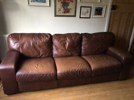 Brown Leather 3 Seater SOFA Settee