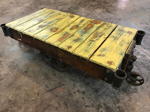 Antique Industrial Cart Table