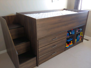 Twin bed with stairs, dresser, book shelf
